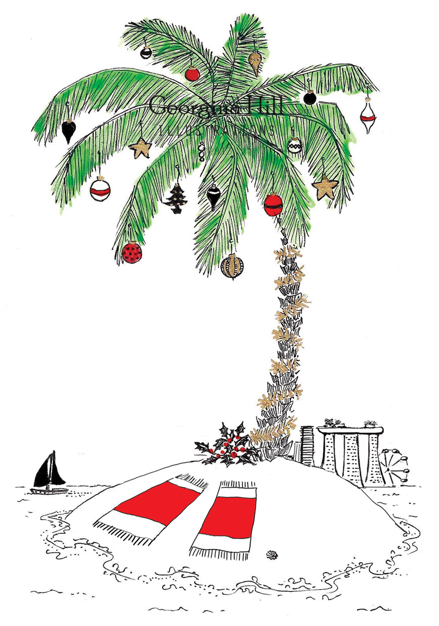 Xmas Card D Palm Tree Front Page Only